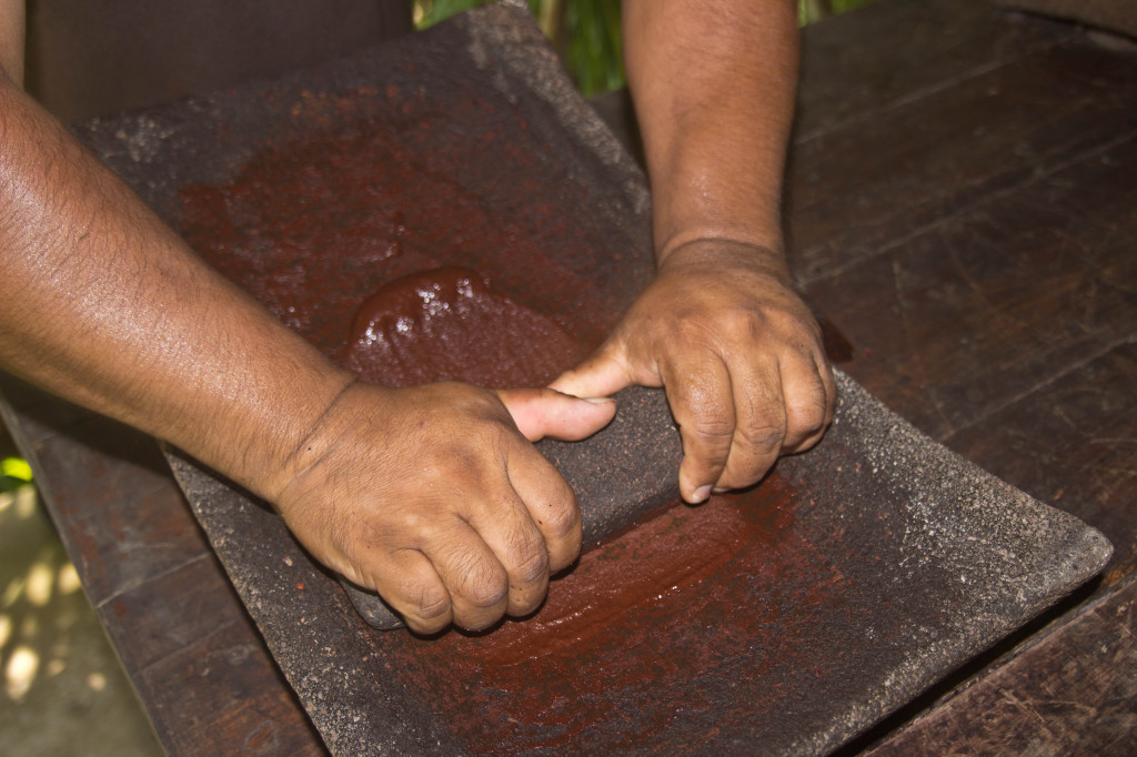 Local Mayan chocolate making